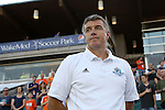 16 August 2014: Edmonton head coach Colin Miller. The Carolina RailHawks played FC Edmonton at WakeMed Stadium in Cary, North Carolina in a 2014 North American Soccer League Fall Season match. Edmonton won the match 3-2.
