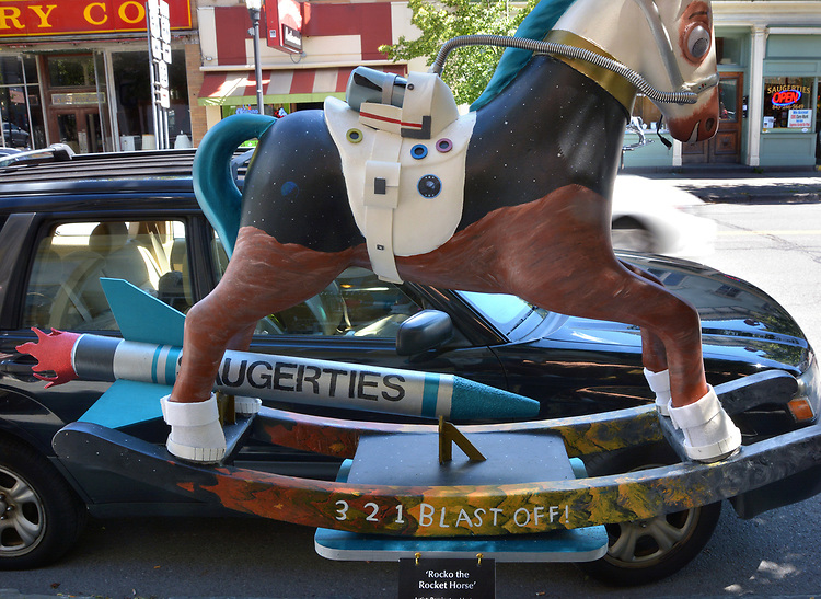 "A view of ""Rocko the Rocket Horse"" created by artist, Remington Masters, one of the ""Rockin' Around Saugerties"" theme Statues on display throughout the Village of Saugerties, NY, on Saturday, June 3, 2017. Photo by Jim Peppler. Copyright/Jim Peppler-2017."