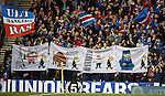 Rangers fans poking fun at Motherwell's European exploits as they turn their own banners against them