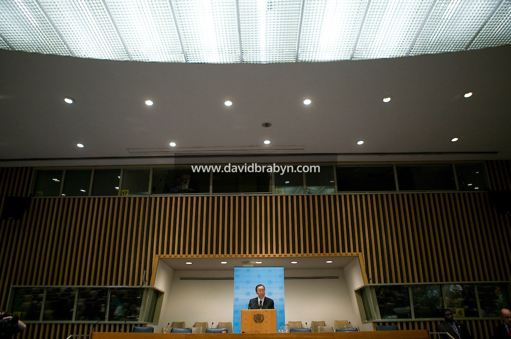 14 December 2006 - New York City, NY - Former South Korean Foreign Minister and UN Secretary-General Designate Ban Ki-Moon gives a press conference after taking his oath of office as eighth United Nations Secretary-General at the United Nations heaquarters in New York City, USA, 14 December 2006. Ban will officially take over from Kofi Annan on 1 January 2007.