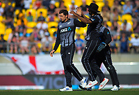 Ish Sodhi congratulates Mitchell Santner on a wicket. Twenty20 International cricket match between NZ Black Caps and England at Westpac Stadium in Wellington, New Zealand on Sunday, 3 November 2019. Photo: Dave Lintott / lintottphoto.co.nz