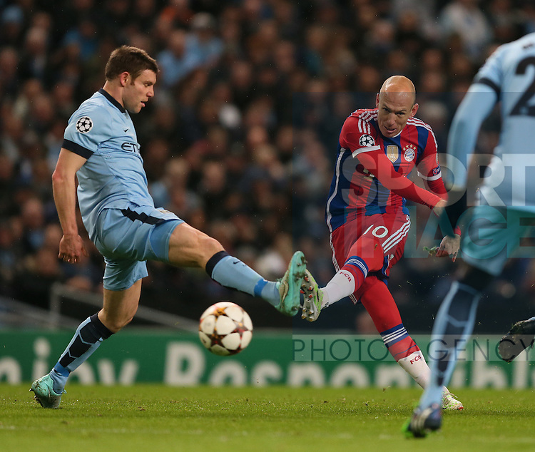 Arjen Robben of Bayern Munich fires in a shot past James Milner of Manchester City - UEFA Champions League group E - Manchester City vs Bayern Munich - Etihad Stadium - Manchester - England - 25rd November 2014  - Picture Simon Bellis/Sportimage