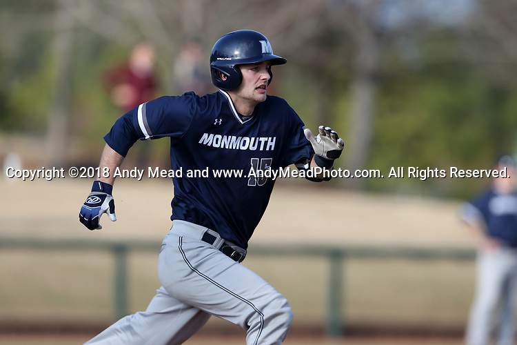 CARY, NC - FEBRUARY 23: Monmouth's Clay Koniencki. The Monmouth University Hawks played the Saint John's University Red Storm on February 23, 2018 on Field 2 at the USA Baseball National Training Complex in Cary, NC in a Division I College Baseball game. St John's won the game 3-0.