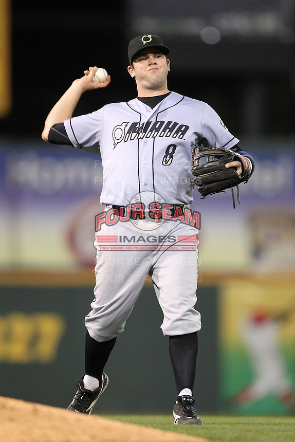 Omaha Storm Chasers third baseman Mike Moustakas #8 in the field during a game against the Nashville Sounds at Greer Stadium on April 25, 2011 in Nashville, Tennessee.  Omaha defeated Nashville 2-1.  Photo By Mike Janes/Four Seam Images