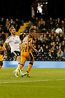 Jarrod Bowen of Hull City heads goalwards during the Sky Bet Championship match between Fulham and Hull City at Craven Cottage, London, England on 13 September 2017. Photo by Carlton Myrie.