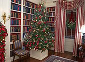 "The 2018 White House Christmas decorations, with the theme ""American Treasures"" which were personally selected by first lady Melania Trump, are previewed for the press in Washington, DC on Monday, November 26, 2018. This is one of the Christmas trees in the White House Library located on the lower level of the White House.  <br /> Credit: Ron Sachs / CNP"