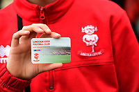 A close up of a Lincoln City 2017/18 season ticket<br /> <br /> Photographer Chris Vaughan/CameraSport<br /> <br /> The EFL Sky Bet League Two - Lincoln City v Chesterfield - Saturday 7th October 2017 - Sincil Bank - Lincoln<br /> <br /> World Copyright &copy; 2017 CameraSport. All rights reserved. 43 Linden Ave. Countesthorpe. Leicester. England. LE8 5PG - Tel: +44 (0) 116 277 4147 - admin@camerasport.com - www.camerasport.com