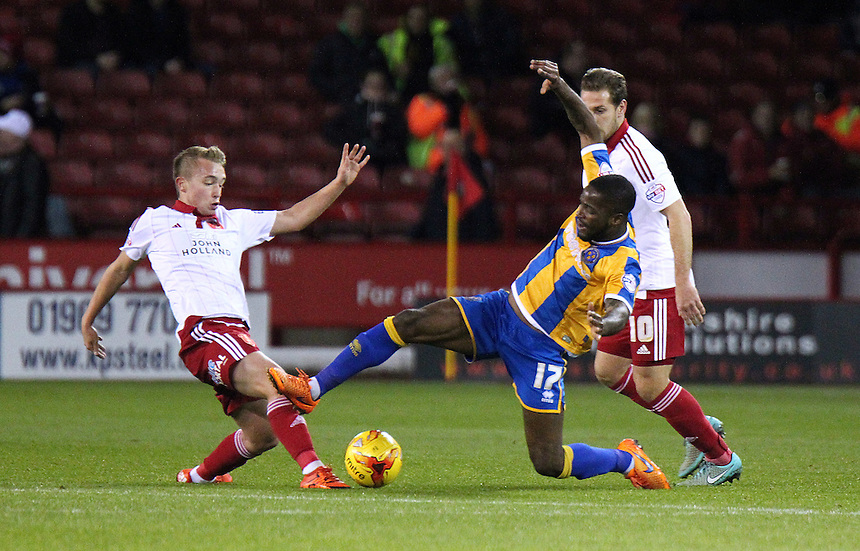 Shrewsbury Town's Abu Ogogo battles with Sheffield United's Louis Reed<br /> Photographer Rich Linley/CameraSport<br /> <br /> Football - The Football League Sky Bet League One - Sheffield United v Shrewsbury Town - Tuesday 24th November 2015 - Bramall Lane - Sheffield<br /> <br /> &copy; CameraSport - 43 Linden Ave. Countesthorpe. Leicester. England. LE8 5PG - Tel: +44 (0) 116 277 4147 - admin@camerasport.com - www.camerasport.com