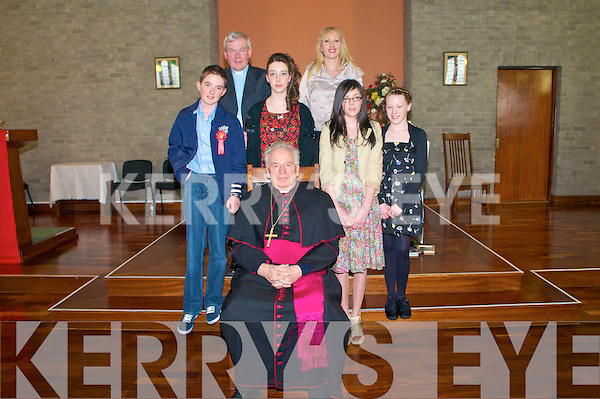 Pupils fromDromnacurra  NS who were confirmed by Bishop Bill Murphy at Ballyduff Church on Monday 4th April. Feont : John Lane, Sinead Leen, Bishop Bill Murphy, Alana O'Connor & Erin Rowan. Back Fr. Brendan Walsh & teacher Regina O'Connor.