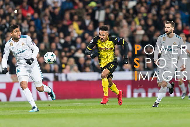 Borussia Dortmund Forward Pierre-Emerick Aubameyang (C) in action during the Europe Champions League 2017-18 match between Real Madrid and Borussia Dortmund at Santiago Bernabeu Stadium on 06 December 2017 in Madrid Spain. Photo by Diego Gonzalez / Power Sport Images
