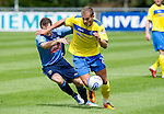 UCD v St Johnstone...10.07.11  Pre-season Friendly.Danijel Subotic gets the better of Sean Harding to run in on goal a score saints second goal.Picture by Graeme Hart..Copyright Perthshire Picture Agency.Tel: 01738 623350  Mobile: 07990 594431