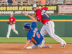 5 March 2015: Washington Nationals infielder Kevin Frandsen gets the out at second but is unable to complete the double play during a Spring Training game against the New York Mets at Space Coast Stadium in Viera, Florida. The Nationals rallied to defeat the Mets 5-4 in their Grapefruit League home opening game. Mandatory Credit: Ed Wolfstein Photo *** RAW (NEF) Image File Available ***