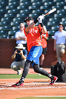Sam Huff of the Hickory Crawdads swings at a pitch during the home run derby as part of the All Star Game festivities at First National Bank Field on June 19, 2018 in Greensboro, North Carolina.(Tony Farlow/Four Seam Images)
