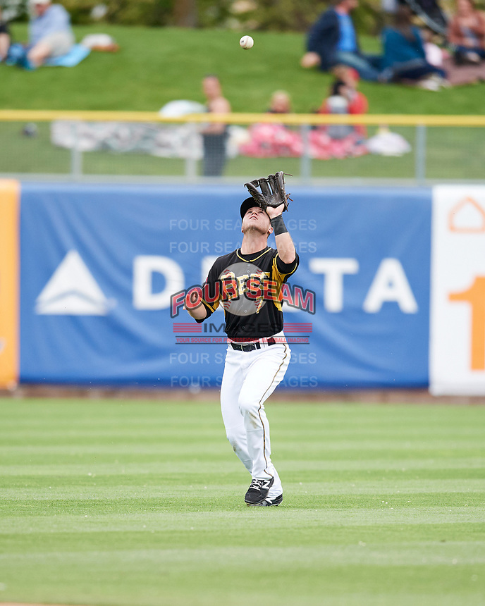 Matt Williams (7) of the Salt Lake Bees on defense against the El Paso Chihuahuas in Pacific Coast League action at Smith's Ballpark on April 30, 2017 in Salt Lake City, Utah.  (Stephen Smith/Four Seam Images)