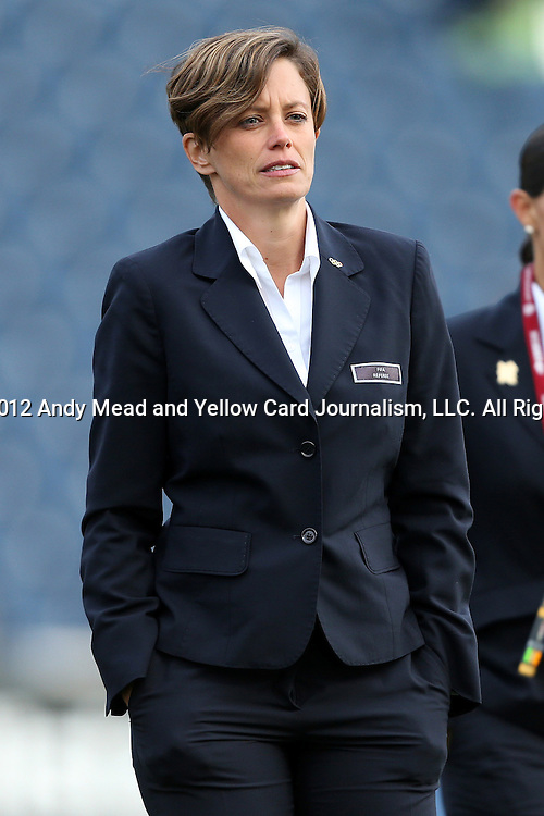 20 October 2012: Fourth Official Kari Seitz. The United States Women's National Team played the Germany Women's National Team at Toyota Park in Bridgeview, Illinois in a women's international friendly soccer match. The game ended in a 1-1 tie.