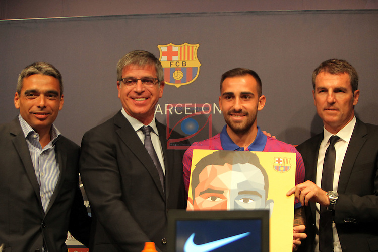 League Santander 2016/2017.<br /> Paco Alcacer presented as new player of FC Barcelona.<br /> Albert Sole, Jordi Mestre, Paco Alcacer &amp; Robert Fernandez.