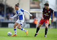 Bristol Rovers' Kyle Bennett battles with Blackburn Rovers' Richard Smallwood<br /> <br /> Photographer Ashley Crowden/CameraSport<br /> <br /> The EFL Sky Bet League One - Bristol Rovers v Blackburn Rovers - Saturday 14th April 2018 - Memorial Stadium - Bristol<br /> <br /> World Copyright &copy; 2018 CameraSport. All rights reserved. 43 Linden Ave. Countesthorpe. Leicester. England. LE8 5PG - Tel: +44 (0) 116 277 4147 - admin@camerasport.com - www.camerasport.com