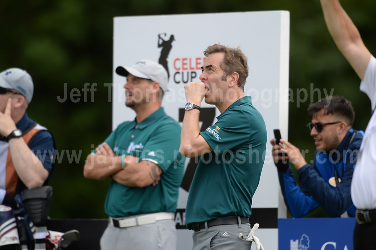 Boyzone band member Keith Duffy and actor James Nesbitt during The 2017 Celebrity Cup golf tournament at the Celtic Manor Resort, Newport, South Wales. 1.07.2017 <br /> <br /> <br /> Jeff Thomas Photography -  www.jaypics.photoshelter.com - <br /> e-mail swansea1001@hotmail.co.uk -<br /> Mob: 07837 386244 -