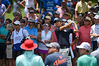 Kevin Na (USA) watches his tee shot on 3 during round 4 of the 2019 Charles Schwab Challenge, Colonial Country Club, Ft. Worth, Texas,  USA. 5/26/2019.<br /> Picture: Golffile | Ken Murray<br /> <br /> All photo usage must carry mandatory copyright credit (© Golffile | Ken Murray)