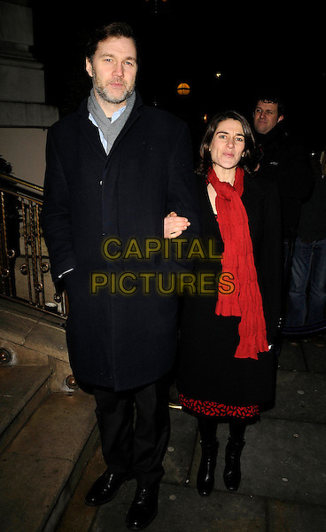 "DAVID MORRISSEY & ESTHER FREUD .Attending the book launch party for ""In Bed With..."" at the Artesian at The Langham Hotel, Portland Place, London, England, February 11th 2009..full length black coat grey gray scarf red couple .CAP/CAN.©Can Nguyen/Capital Pictures"