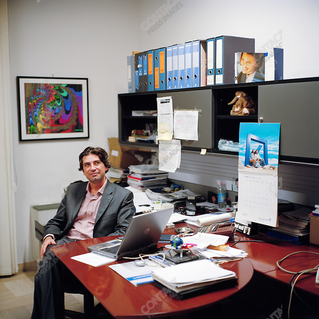 Gianluca Gamboni, 36, a financial consultant, in his office in Rome. October 29, 2007