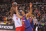 League ACB-ENDESA 2017/2018 - Game: 20.<br /> FC Barcelona Lassa vs Retabet Bilbao Basket: 90-58.<br /> Mickell Gladness vs Adam Hanga.