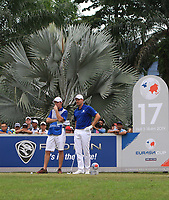 Henrik Stenson (Europe) on the 17th tee during the Singles Matches of the Eurasia Cup at Glenmarie Golf and Country Club on the Sunday 14th January 2018.<br /> Picture:  Thos Caffrey / www.golffile.ie