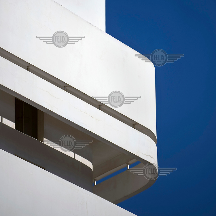 Detail of a Bauhaus building in the White City of Tel Aviv. The White City is a UNESCO World Cultural Heritage site.