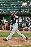 Tyler Nevin (6) of the Grand Junction Rockies at bat against the Ogden Raptors in Pioneer League action at Lindquist Field on September 3, 2015 in Ogden, Utah. Grand Junction defeated Ogden 16-8.  (Stephen Smith/Four Seam Images)