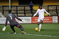 Janoi Donacien of Accrington Stanley takes a shot at goal during Cambridge United vs Accrington Stanley, Sky Bet EFL League 2 Football at the Cambs Glass Stadium on 11th November 2017