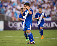 Carlos Ruiz (20) of Guatemala celebrates his goal at RFK Stadium in Washington, DC.  Guatemala tied Paraguay, 3-3.