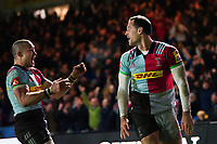Tim Visser of Harlequins looks on after scoring the match winning try. Aviva Premiership match, between Harlequins and Saracens on December 3, 2017 at the Twickenham Stoop in London, England. Photo by: Patrick Khachfe / JMP