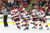 Tommy O'Regan (Harvard - 21), Wiley Sherman (Harvard - 25), Tyler Moy (Harvard - 2), Brayden Jaw (Harvard - 10), Brian Hart (Harvard - 39) - The Harvard University Crimson defeated the visiting Princeton University Tigers 5-0 on Harvard's senior night on Saturday, February 28, 2015, at Bright-Landry Hockey Center in Boston, Massachusetts.