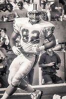 Ron Hall, #82 Tampa Bay Bucs, Atlanta Falcons at Tampa Bay Buccaneers.  The Bucs beat the Falcons 23-17  at Tampa Stadium on December 2, 1990, Tampa, Florida.  (Photo by Brian Cleary/bcpix.com)