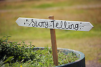 Pictured: A story telling sign Saturday 13 August 2016<br />Re: Grow Wild event at  Furnace to Flowers site in Ebbw Vale, Wales, UK