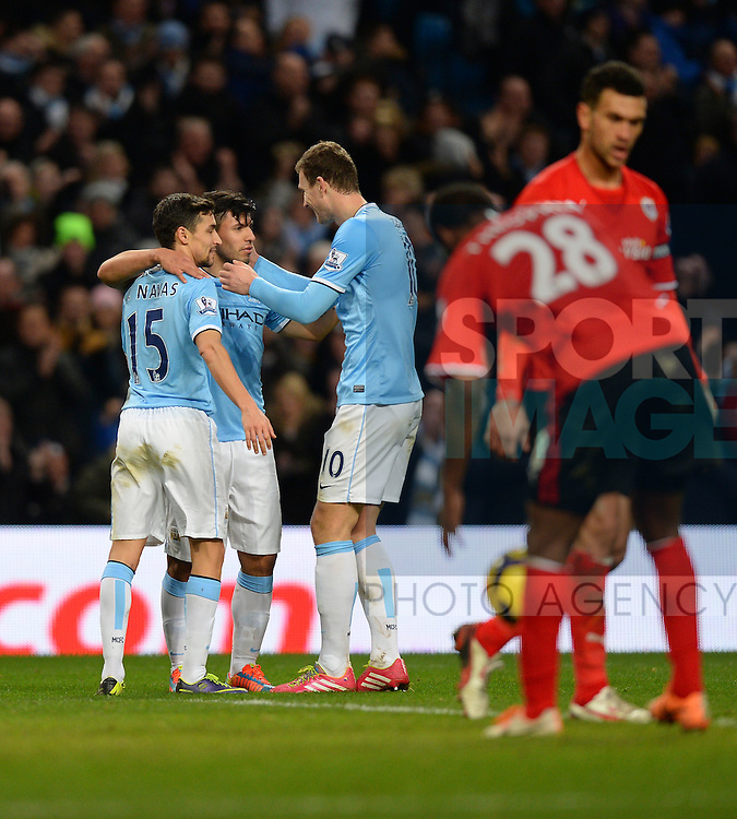 Sergio Aguero of Manchester City celebrates his goal - Barclays Premier League - Manchester City vs Cardiff City - Etihad Stadium - Manchester - England - 18th January 2014  - Picture Simon Bellis/Sportimage