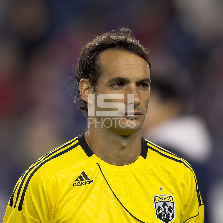 Columbus Crew defender Sebastian Miranda (21). In a Major League Soccer (MLS) match, the Columbus Crew defeated the New England Revolution, 3-0, at Gillette Stadium on October 15, 2011.