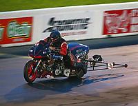 May 19, 2017; Topeka, KS, USA; NHRA top fuel nitro Harley Davidson rider Julian Seaman during qualifying for the Heartland Nationals at Heartland Park Topeka. Mandatory Credit: Mark J. Rebilas-USA TODAY Sports