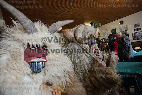 Local people in traditional buso dresses celebrate in a pub during the Buso Carnival in Mohacs, about 200 km south from the capital city Budapest on March 02, 2014. ATTILA VOLGYI