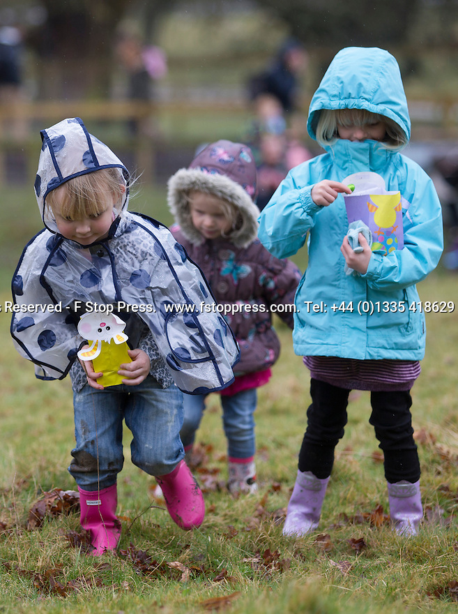 03/04/15<br /> <br /> ***PHOTO ORDER - F.A.O. MATT FEARN***<br /> <br /> L/R: Ava Bunting (3), Molly Bunting (5) and Esme Weaver (4).<br /> <br /> Children brave the rain to take part in a Good Friday  Easter Egg hunt at Chatsworth House in the Derbyshire Peak District.<br /> <br /> All Rights Reserved - F Stop Press.  www.fstoppress.com. Tel: +44 (0)1335 418629 +44(0)7765 242650