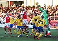 Charlton Athletic's goalkeeper Dillon Phillips cuts out a Fleetwood Town cross<br /> <br /> Photographer Andrew Kearns/CameraSport<br /> <br /> The EFL Sky Bet League One - Fleetwood Town v Charlton Athletic - Saturday 2nd February 2019 - Highbury Stadium - Fleetwood<br /> <br /> World Copyright © 2019 CameraSport. All rights reserved. 43 Linden Ave. Countesthorpe. Leicester. England. LE8 5PG - Tel: +44 (0) 116 277 4147 - admin@camerasport.com - www.camerasport.com
