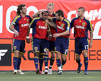 Kyle Beckerman, Nat Borchers, Dema Kovalenko, Chris Winger congratulate Robbie Findley on his goal in the 1-3 RSL win at Rice Eccles Stadium in Salt Lake City, Utah on  May 31, 2008
