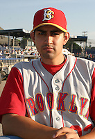 July 25, 2005:  Sal Aguilar of the Brooklyn Cyclones during a game at Dwyer Stadium in Batavia, NY.  Brooklyn is the NY-Penn League Class-A affiliate of the New York Mets.  Photo by:  Mike Janes/Four Seam Images