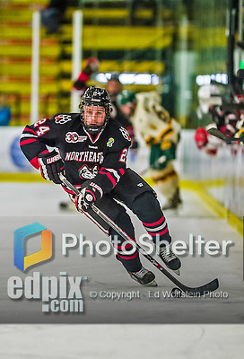 17 December 2013:  Northeastern University Huskies Forward Mike Jamieson, a Freshman from Billerica, MA, in first period action against the University of Vermont Catamounts at Gutterson Fieldhouse in Burlington, Vermont. The Huskies shut out the Catamounts 3-0 to end UVM's 5 game winning streak. Mandatory Credit: Ed Wolfstein Photo *** RAW (NEF) Image File Available ***