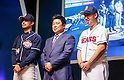 Kim Tae-Hyeong, Oh Jae-won and Yoo Hee-Kwan, Mar 28, 2016 : South Korean baseball team Doosan Bears' manager Kim Tae-Hyeong (C), infielder Oh Jae-won (L) and starting pitcher Yoo Hee-Kwan pose during a media day and fanfest of 10 clubs in the Korea Baseball Organization (KBO) in Seoul, South Korea. (Photo by Lee Jae-Won/AFLO) (SOUTH KOREA)