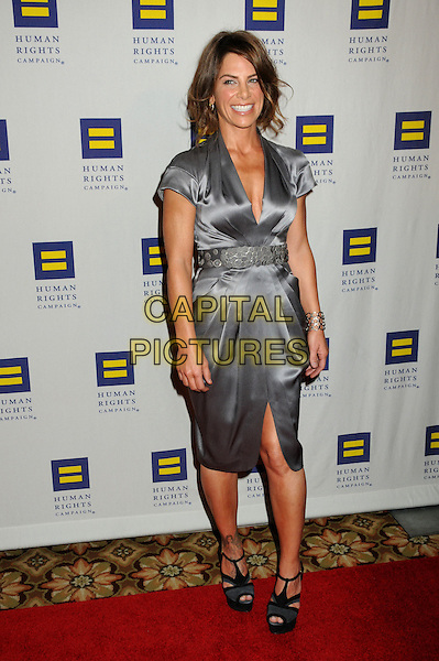 JILLIAN MICHAELS .Human Rights Campaign Los Angeles Gala held at the Hyatt Century Plaza Hotel, Century City, California, USA..March 13th, 2010.full length grey gray blue silk satin dress .CAP/ADM/BP.©Byron Purvis/AdMedia/Capital Pictures.