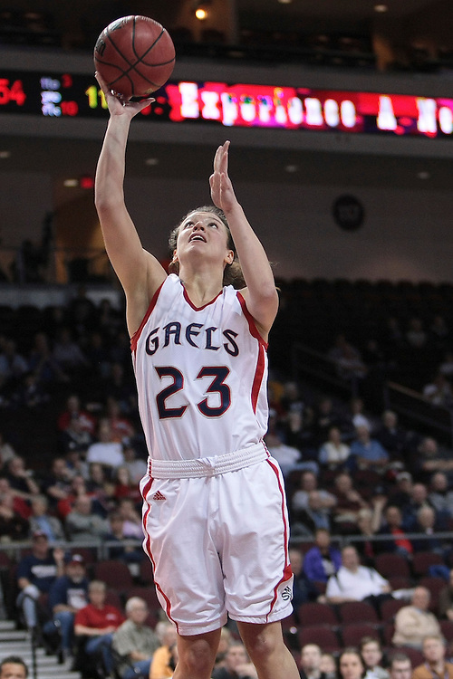March 02, 2012; Las Vegas, NV, USA; Saint Mary's Gaels guard Andrea Bailey (23) shoots the ball against the Pepperdine Waves during the WCC Basketball Championships quarterfinals at Orleans Arena. The Saint Mary's Gaels defeated the Pepperdine Waves 67-63.
