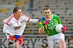 Louise Galvin takes on Tyrone's Clare Muldoon in Fitzgerald Stadium on Sunday during their NFL division 1 clash