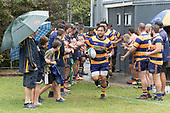 Joe Royal leads the Patumahoe team out for the Premier Counties Power Club Rugby Round 3, Counties Power Game of the Week, between Patumahoe and Bombay, played at Patumahoe on Saturday March 24th 2018. <br /> Photo by Richard Spranger.<br /> <br /> Patumahoe Counties Power Cup Holders won the game 26 - 23 after trailing 7 - 23 at halftime.<br /> Patumahoe 26 - Penalty try, Richard Taupaki, Theodore Solipo, Craig Jones tries; Riley Hohepa 2 conversions. <br /> Bombay 23 - Shaun Muir, Jordan Goldsmith, Liam Daniela, tries; Tim Cossens conversion; Tim Cossens 2 penalties.