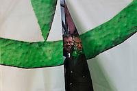 Milano: manifestazione della Lega Nord organizzata per protestare contro la manovra del governo Monti. Nella foto Umberto Bossi e Roberto Maroni prima di salire sul palco.